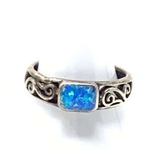 Silver Stamped 925 Titian Moonstone MF Size 7.5